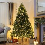 Pre Lit PE Windsor Fir Green Christmas Tree, Warm White LEDs
