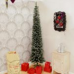 2m Green Flocked Pine Pencil Christmas Tree