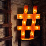 Large 'Hashtag' Metal Light Up Circus Letter, 15 Warm White Bulbs