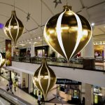3m Giant Gold and White Indoor Inflatable Christmas Bauble